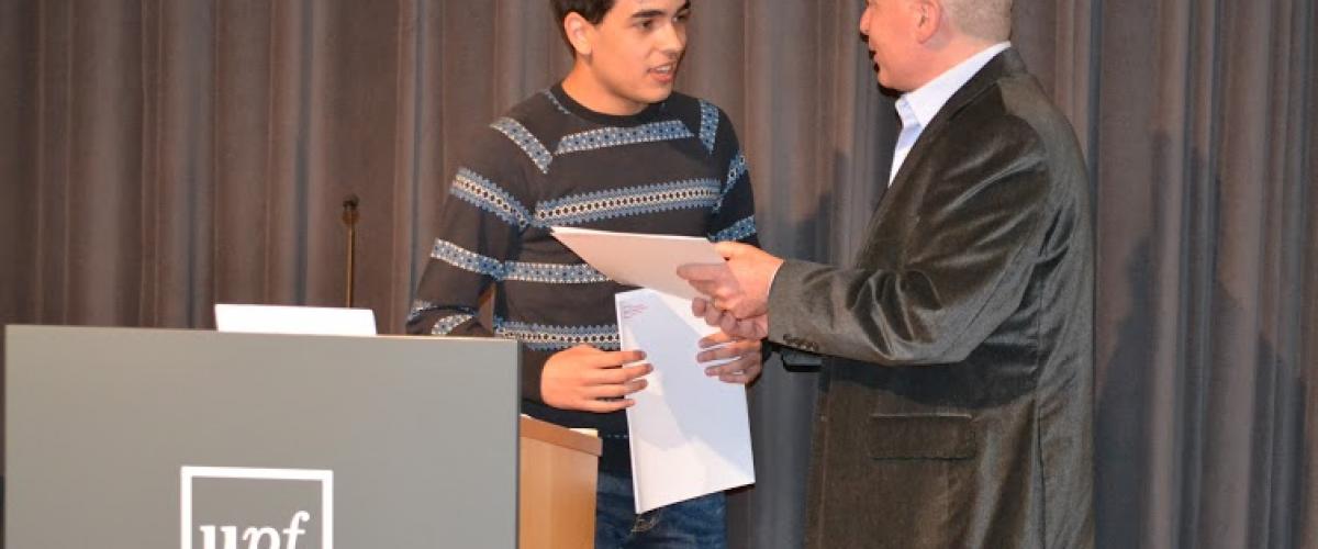 Oriol Jové guanya el Premi Domènec Font de Comunicació convocat per la Universitat Pompeu Fabra.
